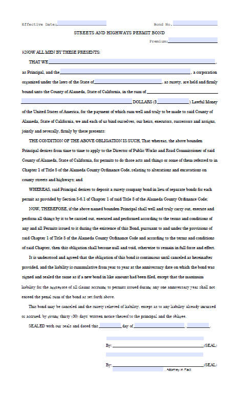 Alameda California Streets and Highways Permit Bond Form