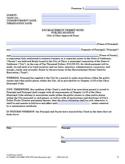 Chico City Encroachment Permit for Excavation