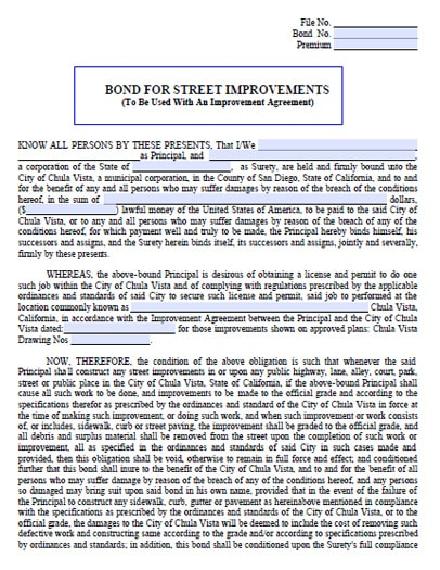 Chula Vista California Street Improvements Bond