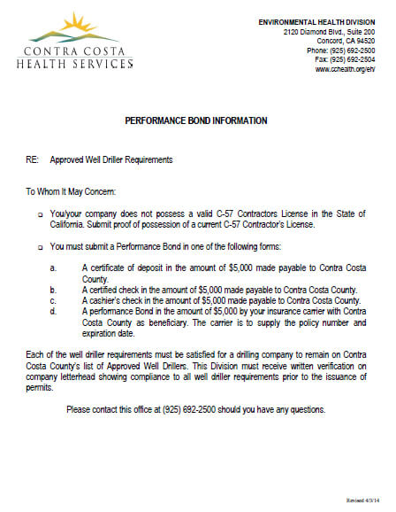 Contra Costa Health Services Well Driller Performance Bond