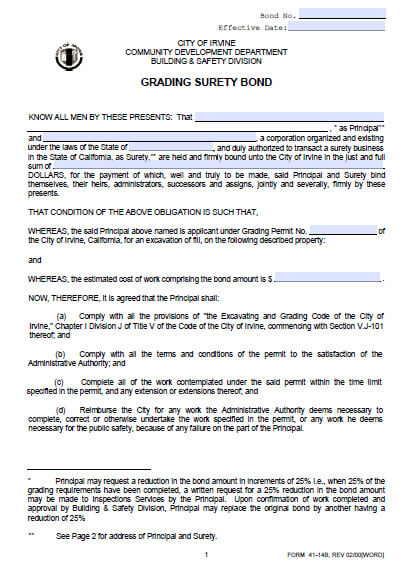 Irvine California Grading Bond