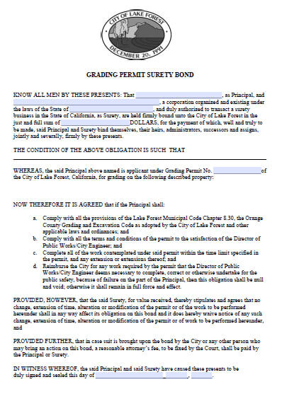 Lake Forest California Grading Permit Bond