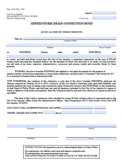 Los Angeles California Sewer/Storm Drain Connection Permit Bond