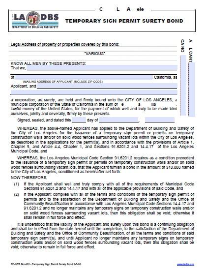 Los Angeles California Temporary Sign Permit Bond