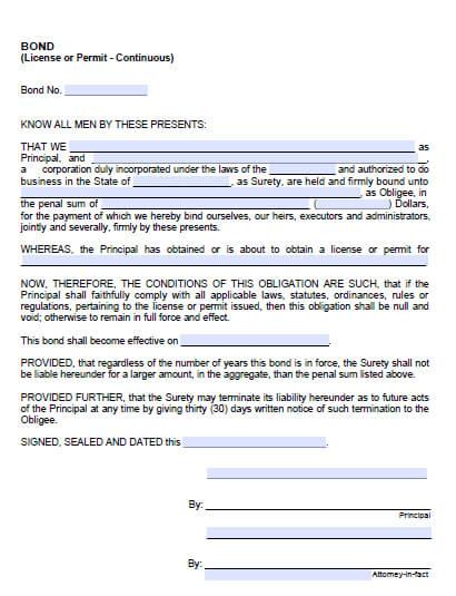 Sausalito City Grading Permit Bond