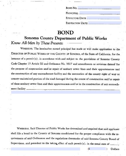 Sonoma County Encroachment Permit Bond