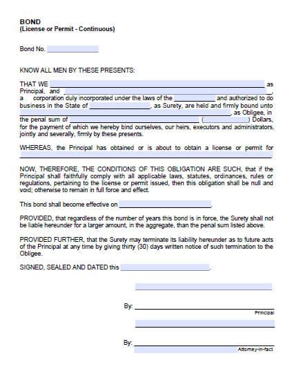 Sonoma County Permit/License Bond