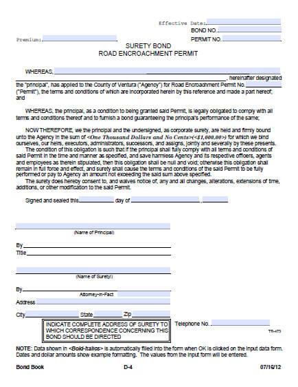 Ventura County Road Encroachment Permit Bond