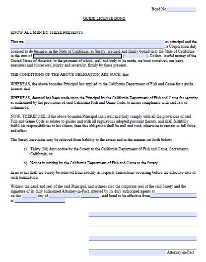 California Guide License Bond