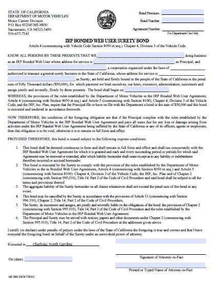California International Registration Plan (IRP) Bonded Web User Bond