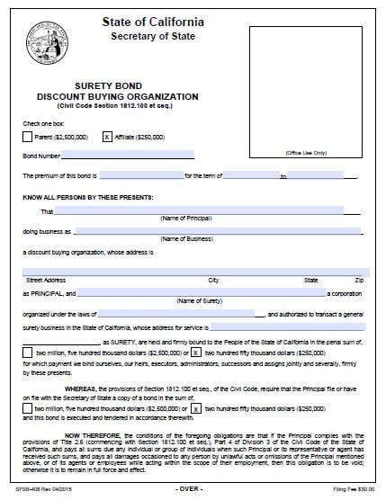 California Discount Buying Organization Parent and Affiliate Bond
