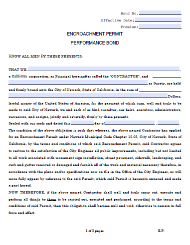 Newark City Encroachment Permit Bond