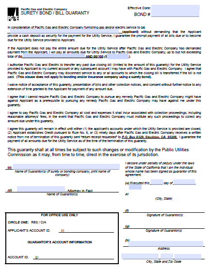 Pacific Gas and Electric Company (PG&E) Utility Deposit Bond