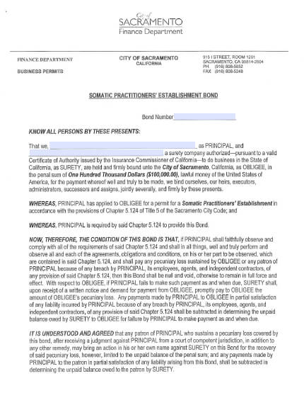 Sacramento City Finance Department Somatic Practitioners Establishment Bond - $100,000