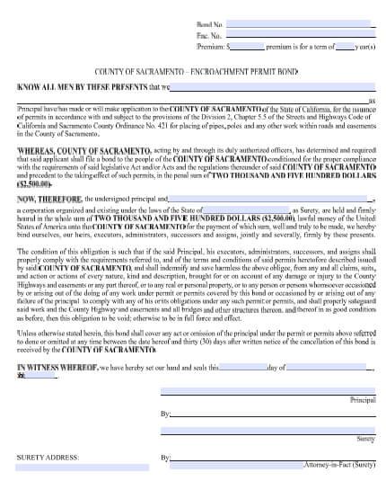 Sacramento County Encroachment Permit Bond - $2,500
