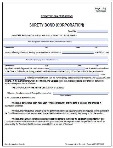 San Bernardino County Temporary Use Permit Bond