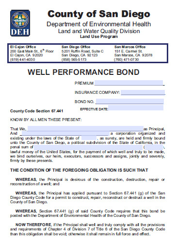 San Diego County Well Contractor Bond - $2,500