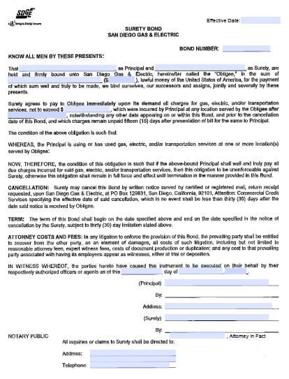 San Diego Gas & Electric Company (SDGE) Utility Deposit Bond