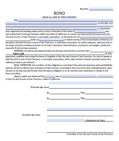 San Francisco City and County Supply Contract Bond