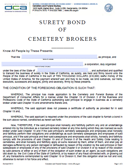 California Cemetery Brokers Bond