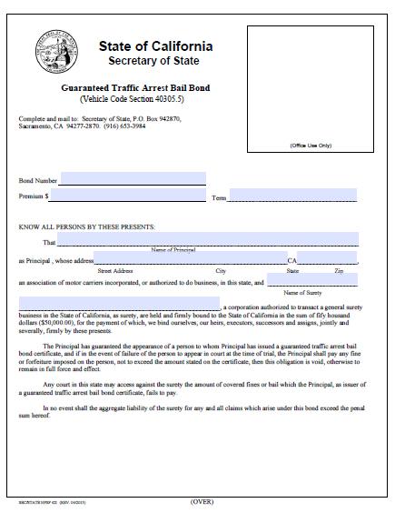 California Guaranteed Traffic Arrest Bail Bond Certificate