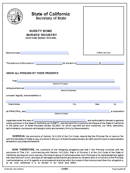 California Nurses Registry Bond