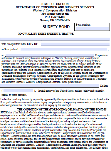 Oregon Certified Self-Insured Employer or Workers Compensation Bond