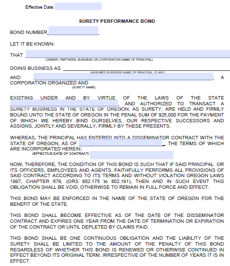 Disseminator Contract Bond - $25,000 Form