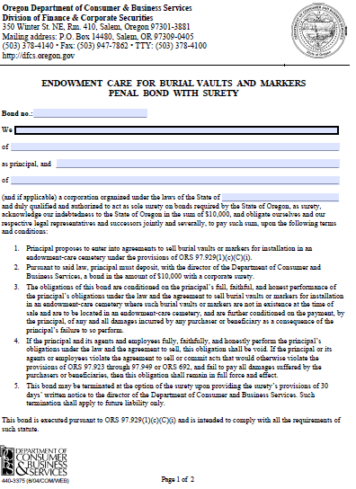 Oregon Endowment Care for Burial Faults and Markers Penal Bond - $10,000