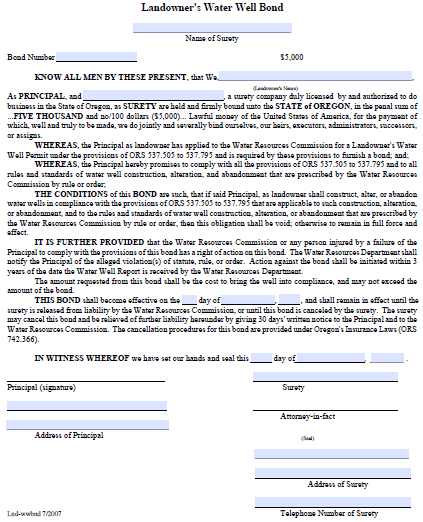 Oregon Landowner's Water Well Permit Bond Form
