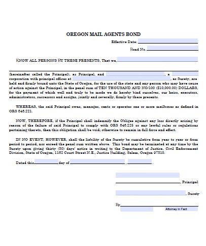 Oregon Mail Agent Bond - $10,000