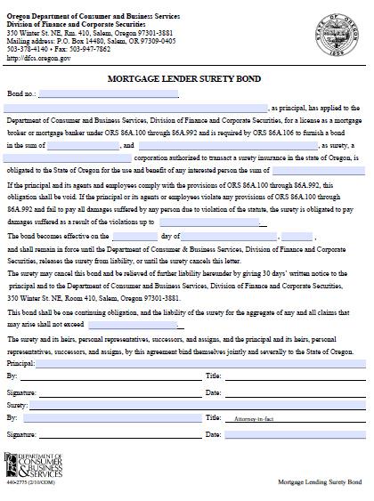 Oregon Mortgage Lender Bond