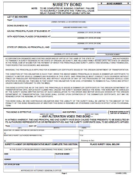 Oregon Motor Vehicle Dismantler Bond - $10,000