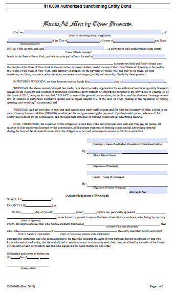 New York Authorized Sanctioning Entity Bond – $10,000