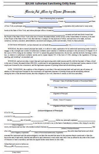 New York Authorized Sanctioning Entity Bond – $20,000
