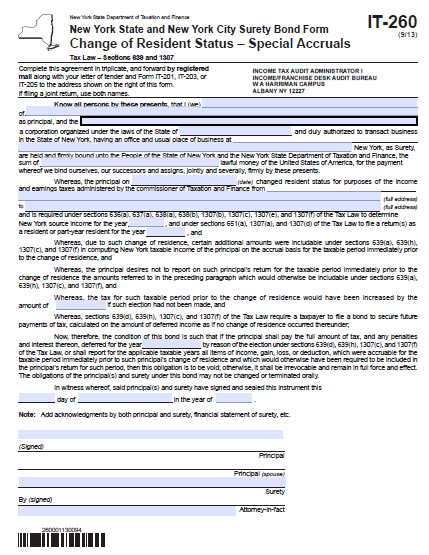 New York Change of Resident Status Bond – Special Accruals