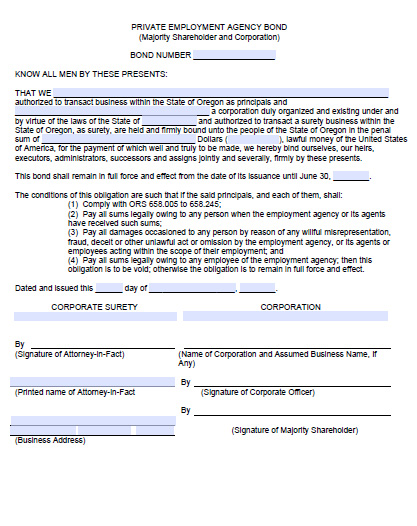 Oregon Private Employment Agency Bond