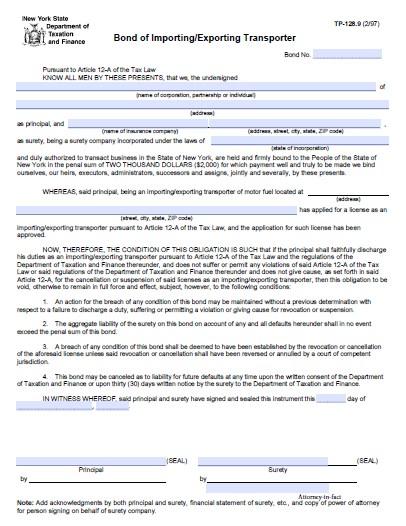 New York Importing/Exporting Transporter of Motor Fuel License Bond
