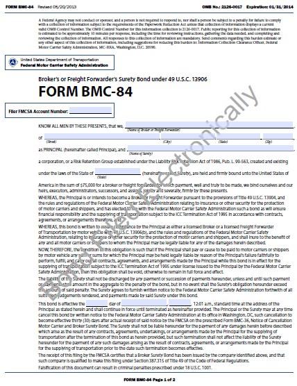 New York Property Broker or Freight Forwarder Bond