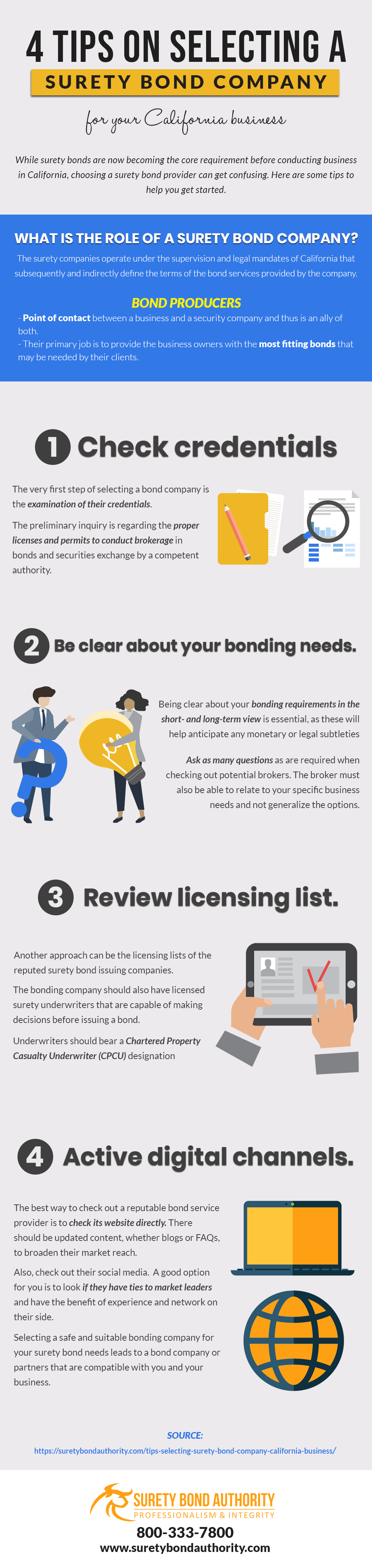 Four Tips on Selecting a Surety Bond Company Infographic