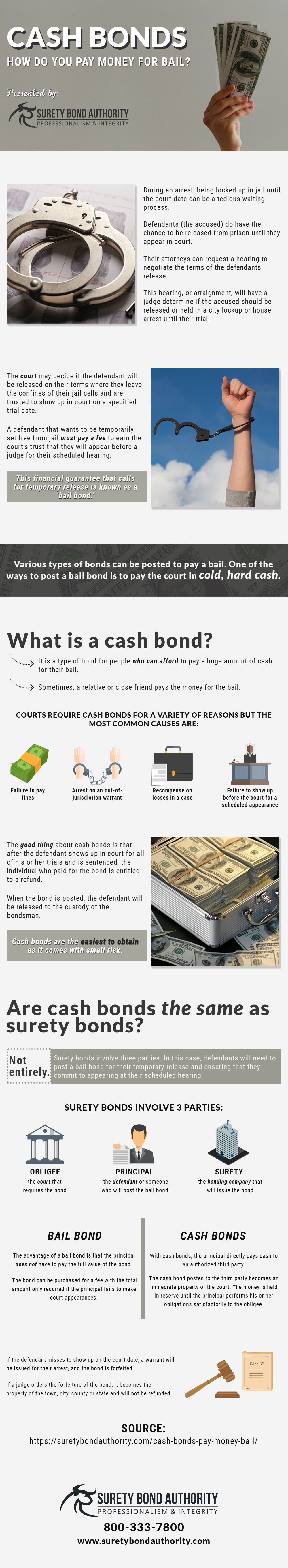 Cash Bonds for Bail Infographic