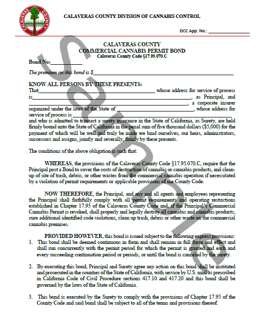 Calaveras County Cannabis Bond Form