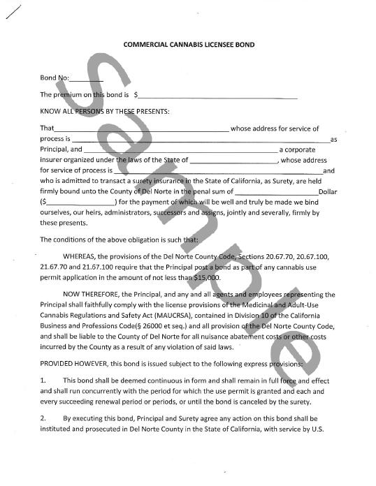 Del Norte County Cannabis Bond Form