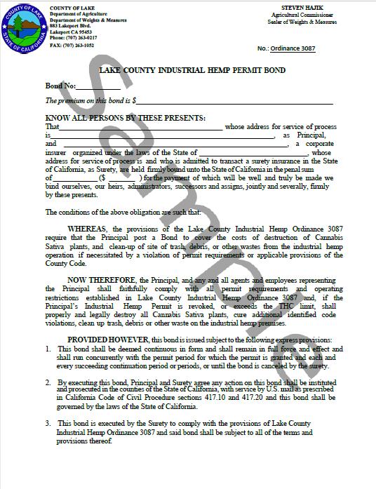 Lake County Cannabis Bond Form