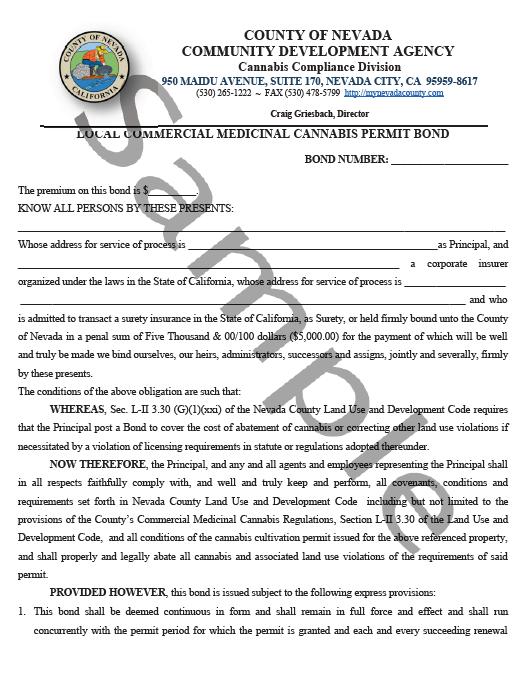 Nevada County Cannabis Bond Form