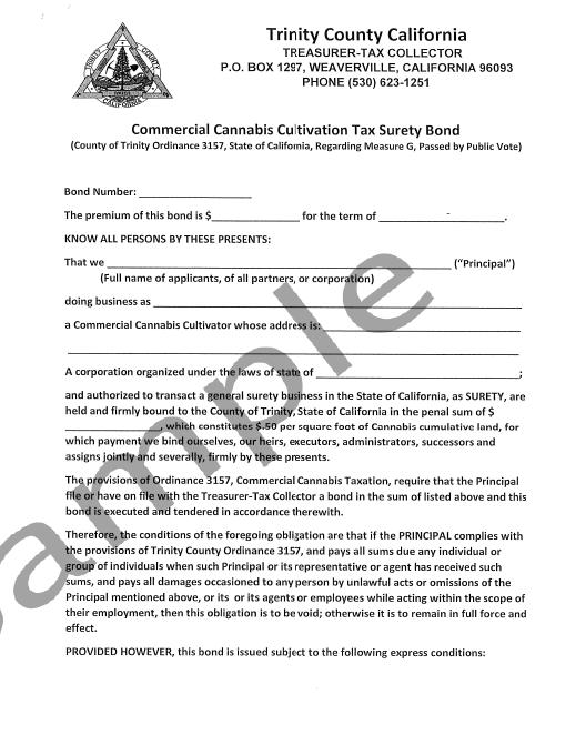 Trinity County Cannabis Bond Form
